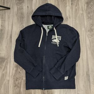 Men's XS Roots Hoodie Zip Up Navy Blue